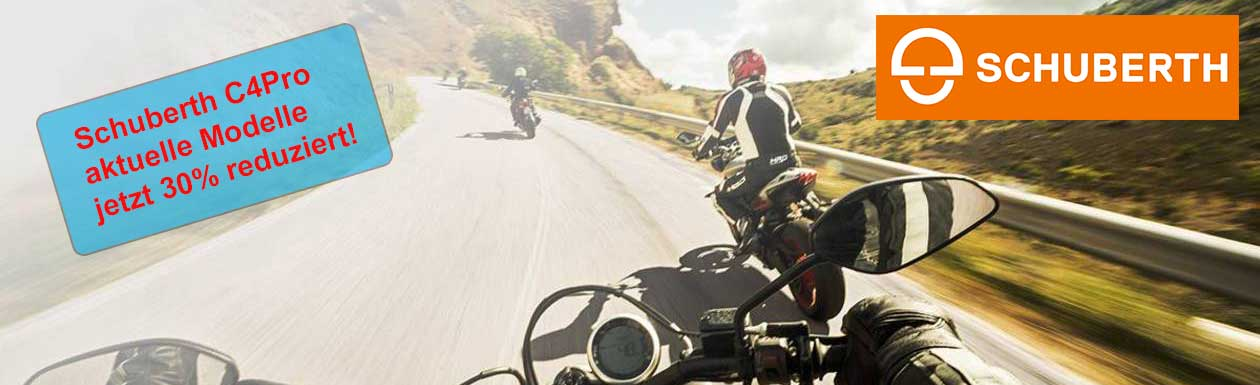 Drei Motorradfahrer kurviger Bergfahrt mit Schuberth Helmen